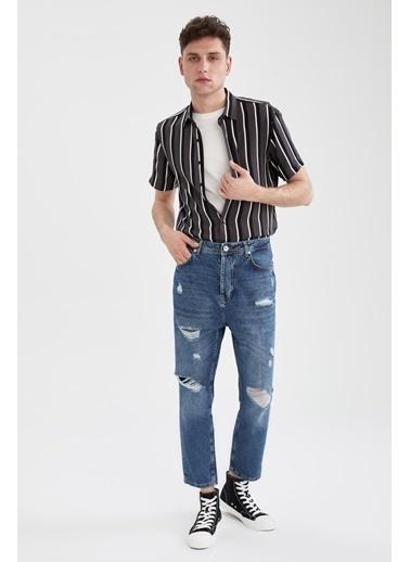 DeFacto Slim Fit Çizgili Kısa Kollu Gömlek Antrasit